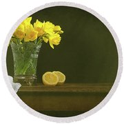 Rustic Still Life With Daffodils Round Beach Towel