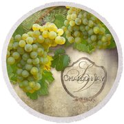 Rustic Vineyard - Chardonnay White Wine Grapes Vintage Style Round Beach Towel