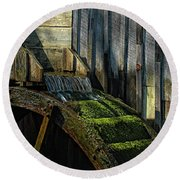 Rustic Water Wheel With Moss Round Beach Towel
