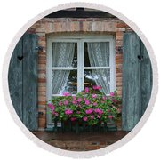 Rustic Window And Red Bricks Wall Round Beach Towel by Yair Karelic