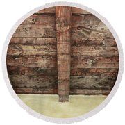 Rustic Wood Beams Round Beach Towel