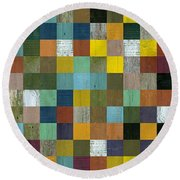 Rustic Wooden Abstract Tower Round Beach Towel