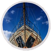 Rusting Boat Round Beach Towel
