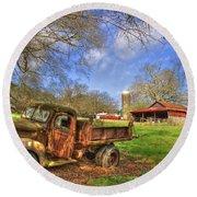 Rusty 1947 Dodge Dump Truck Round Beach Towel