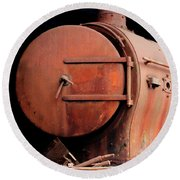 Rusty Abandoned Steam Locomotive Round Beach Towel