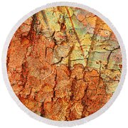 Rusty Bark Abstract Round Beach Towel