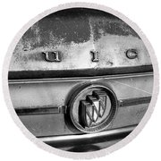 Rusty Buick Emblem Black And White Round Beach Towel