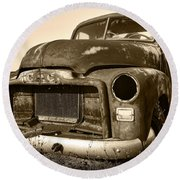 Rusty But Trusty Old Gmc Pickup Round Beach Towel by Gordon Dean II