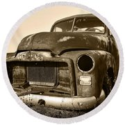 Rusty But Trusty Old Gmc Pickup Truck - Sepia Round Beach Towel by Gordon Dean II