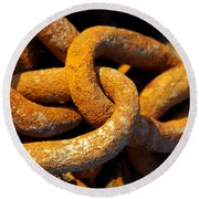 Rusty Chain Round Beach Towel