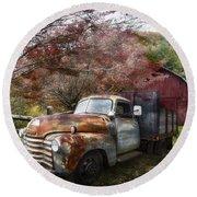 Rusty Chevy Pickup Truck Round Beach Towel
