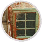 Rusty Lighthouse Window Round Beach Towel