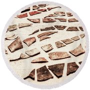Rusty Metal Leaves Cut With Scissors Round Beach Towel
