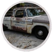 Rusty Old Dodge Round Beach Towel