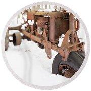 Rusty Old Steel Wheel Tractor In The Snow Tilt Shift Round Beach Towel