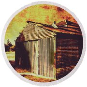 Rusty Outback Australia Shed Round Beach Towel