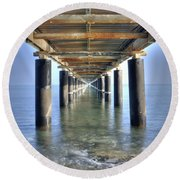 Rusty Pier  On The Ocean  From Below Round Beach Towel
