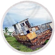 Rusty Retired Fishing Boat Round Beach Towel