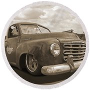 Rusty Studebaker In Sepia Round Beach Towel