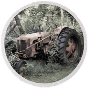Rusty Tractor 2  Round Beach Towel