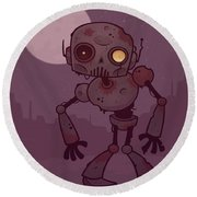 Rusty Zombie Robot Round Beach Towel by John Schwegel