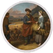 Ruth And Boaz Round Beach Towel
