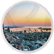 Rye, New Hampshire Sunrise Cairns Round Beach Towel
