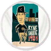 Ryne Sandberg Chicago Cubs Round Beach Towel