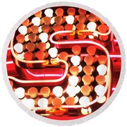 S In Lights Round Beach Towel