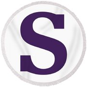 S In Purple Typewriter Style Round Beach Towel