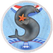 S Is For Seal And Starfish Round Beach Towel