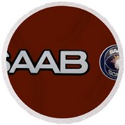 Saab Logo And Emblem Round Beach Towel