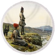 Saami Couple With Dog Round Beach Towel