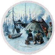 Saami Family At The Hut Round Beach Towel