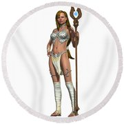 Sabby Lessa Woman Warrior Round Beach Towel