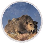 Saber-toothed Hunter Round Beach Towel