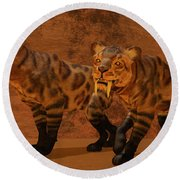 Saber-toothed Tiger Cave Round Beach Towel