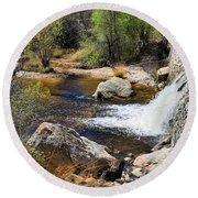 Sabino Creek Falls Round Beach Towel