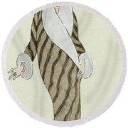 Sable Coat With White Fox Trim Round Beach Towel