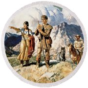 Sacagawea With Lewis And Clark During Their Expedition Of 1804-06 Round Beach Towel by Newell Convers Wyeth
