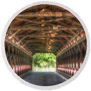 Sachs Bridge - Gettysburg - Vert.-hdr Round Beach Towel