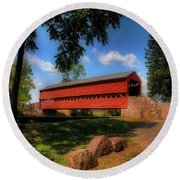Sach's Covered Bridge Round Beach Towel by Lois Bryan