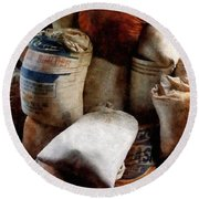 Sacks Of Feed Round Beach Towel