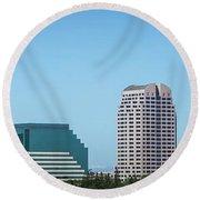 Sacramento California Cityscape Skyline On Sunny Day Round Beach Towel