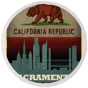Sacramento City Skyline State Flag Of California Art Poster Series 023 Round Beach Towel