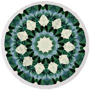 Sacramento Green And Cerulean Blue Mandala Round Beach Towel