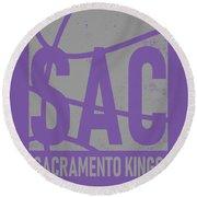 Sacramento Kings City Poster Art Round Beach Towel