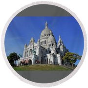 Sacre Coeur In The Montmartre Area Of Paris, France  Round Beach Towel