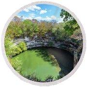 Sacred Cenote In Chichen Itza Round Beach Towel