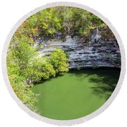 Sacred Cenote Vertical View Round Beach Towel